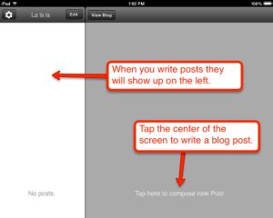 Blogger app home info