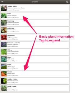 MyGarden basic plant info