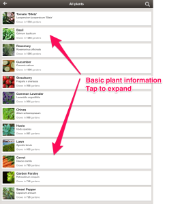 MyGarden basic plant info